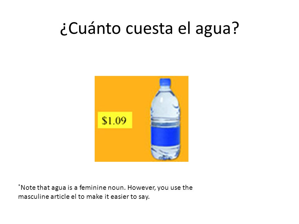 ¿Cuánto cuesta el agua. *Note that agua is a feminine noun.