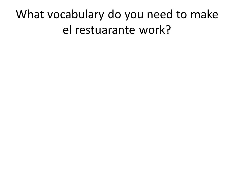 What vocabulary do you need to make el restuarante work