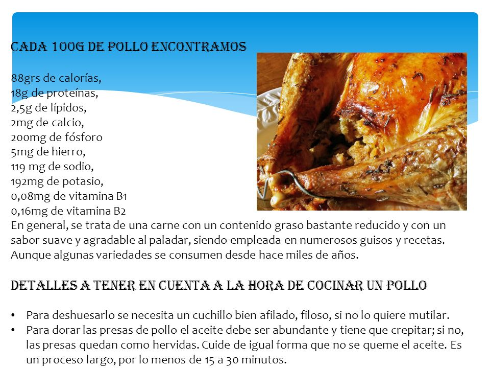 Cada 100g de pollo encontramos