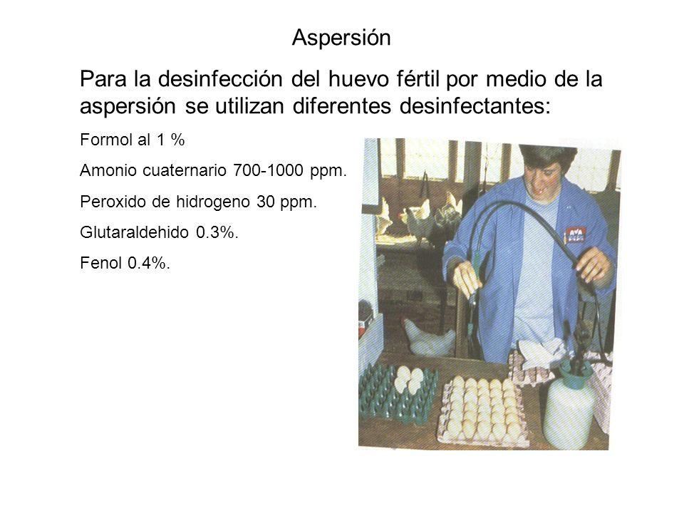 Aspersión Para la desinfección del huevo fértil por medio de la aspersión se utilizan diferentes desinfectantes: