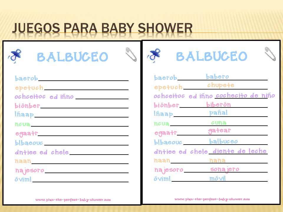 Juegos De Baby Shower Balbuceo