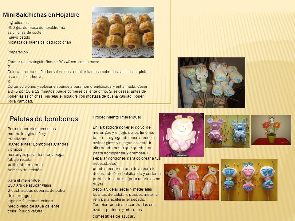 Paletas de bombones Mini Salchichas en Hojaldre Ingredientes