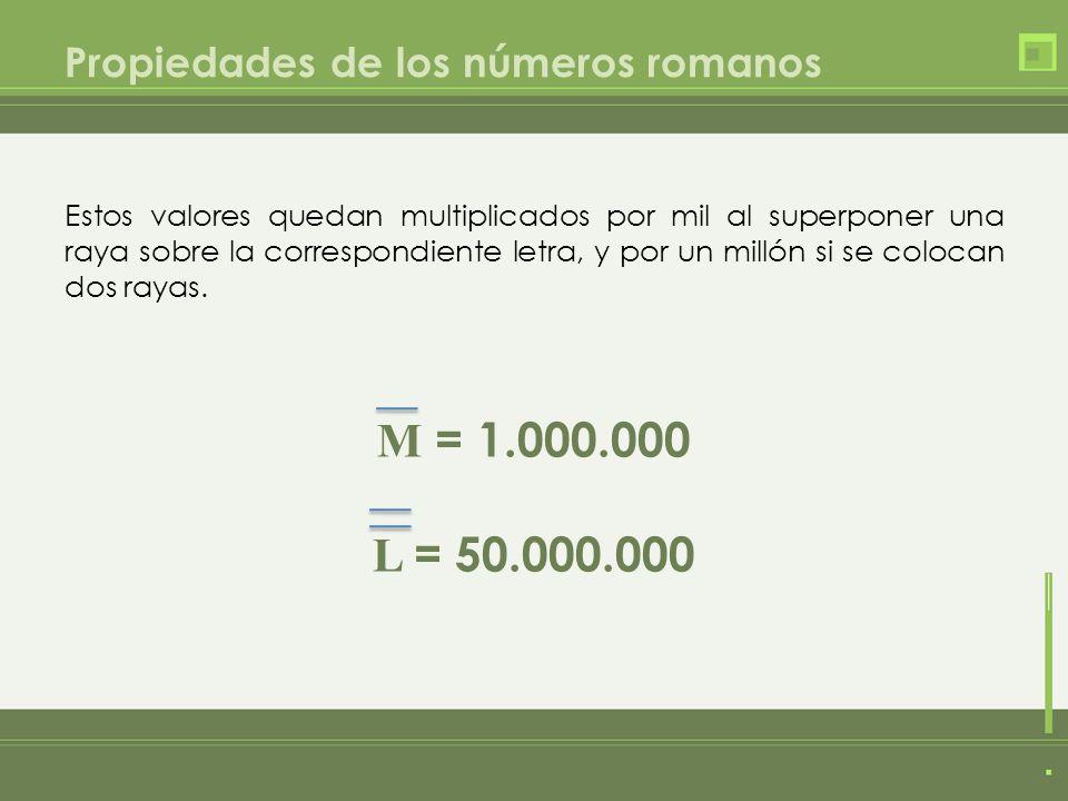 Propiedades de los números romanos