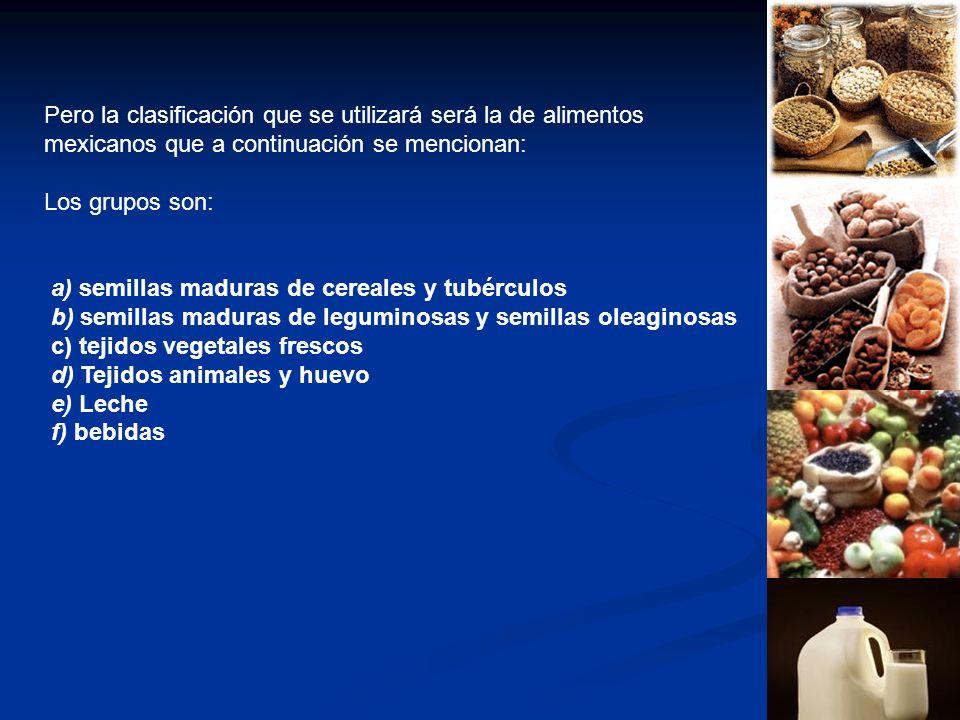 Pero la clasificación que se utilizará será la de alimentos mexicanos que a continuación se mencionan: