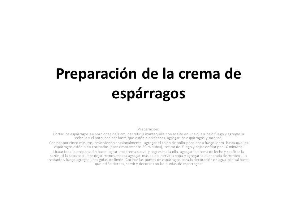 Preparación de la crema de espárragos