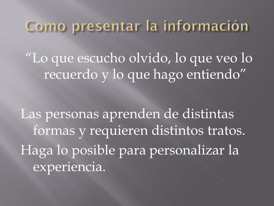 Como presentar la información