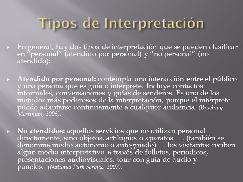 Tipos de Interpretación