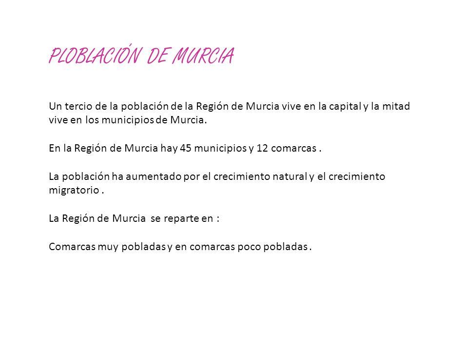 PLOBLACIÓN DE MURCIA Un tercio de la población de la Región de Murcia vive en la capital y la mitad vive en los municipios de Murcia.