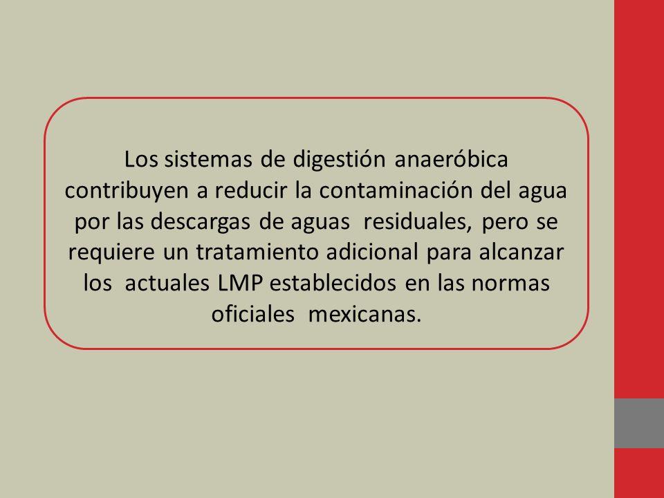 Los sistemas de digestión anaeróbica contribuyen a reducir la contaminación del agua por las descargas de aguas residuales, pero se requiere un tratamiento adicional para alcanzar los actuales LMP establecidos en las normas oficiales mexicanas.