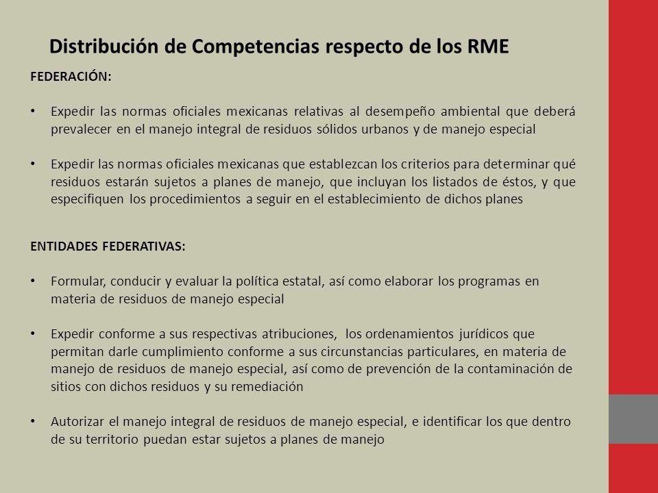 Distribución de Competencias respecto de los RME