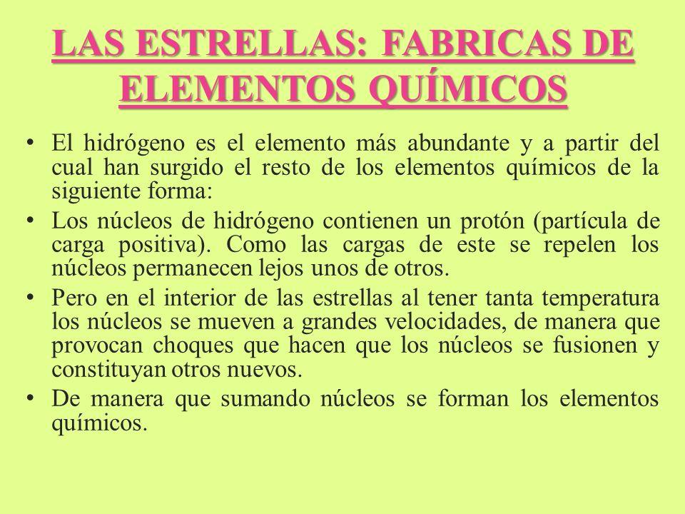 LAS ESTRELLAS: FABRICAS DE ELEMENTOS QUÍMICOS