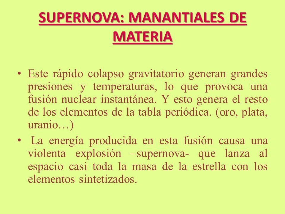 SUPERNOVA: MANANTIALES DE MATERIA