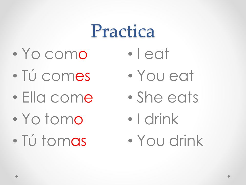 Practica Yo como Tú comes Ella come Yo tomo Tú tomas I eat You eat