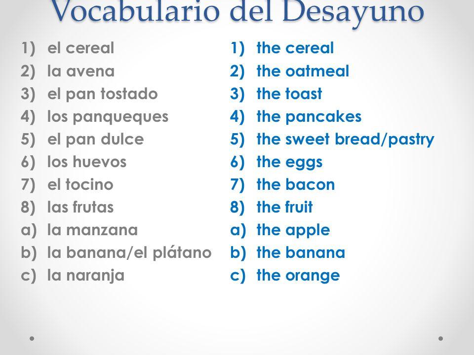 Vocabulario del Desayuno
