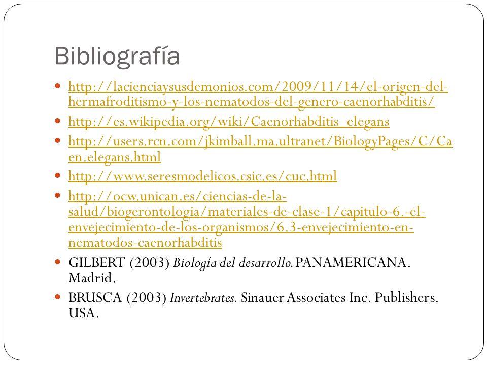 Bibliografía http://lacienciaysusdemonios.com/2009/11/14/el-origen-del- hermafroditismo-y-los-nematodos-del-genero-caenorhabditis/