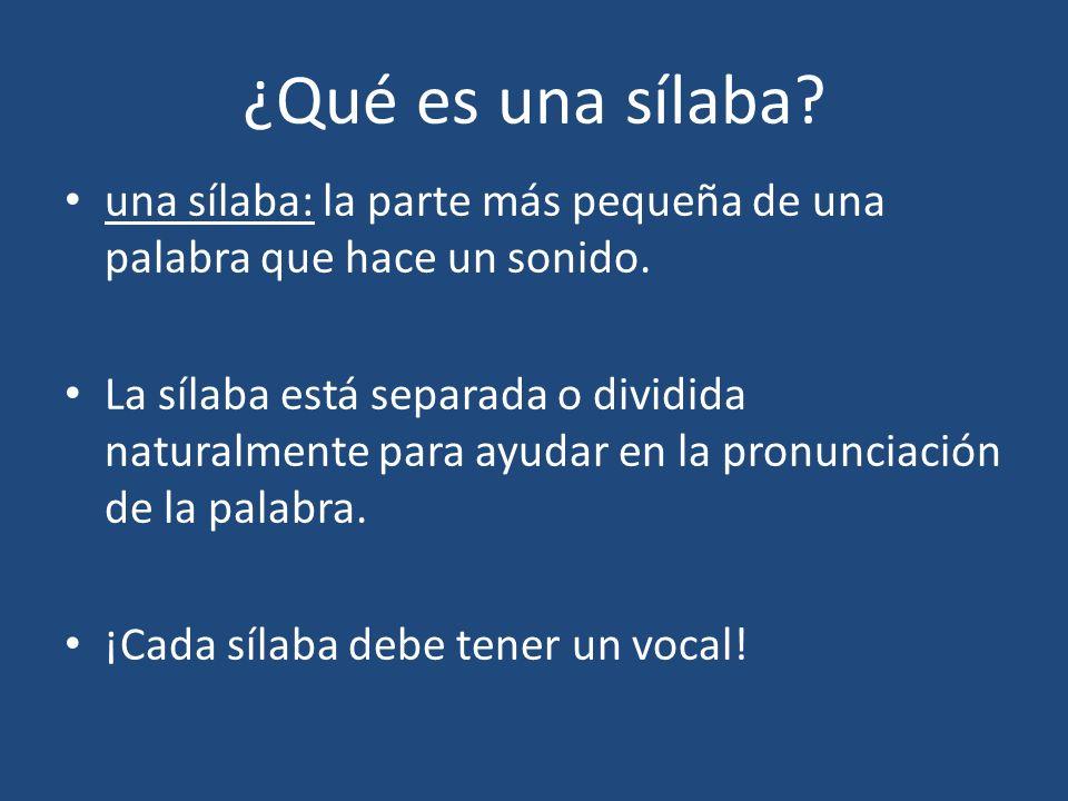 ¿Qué es una sílaba una sílaba: la parte más pequeña de una palabra que hace un sonido.