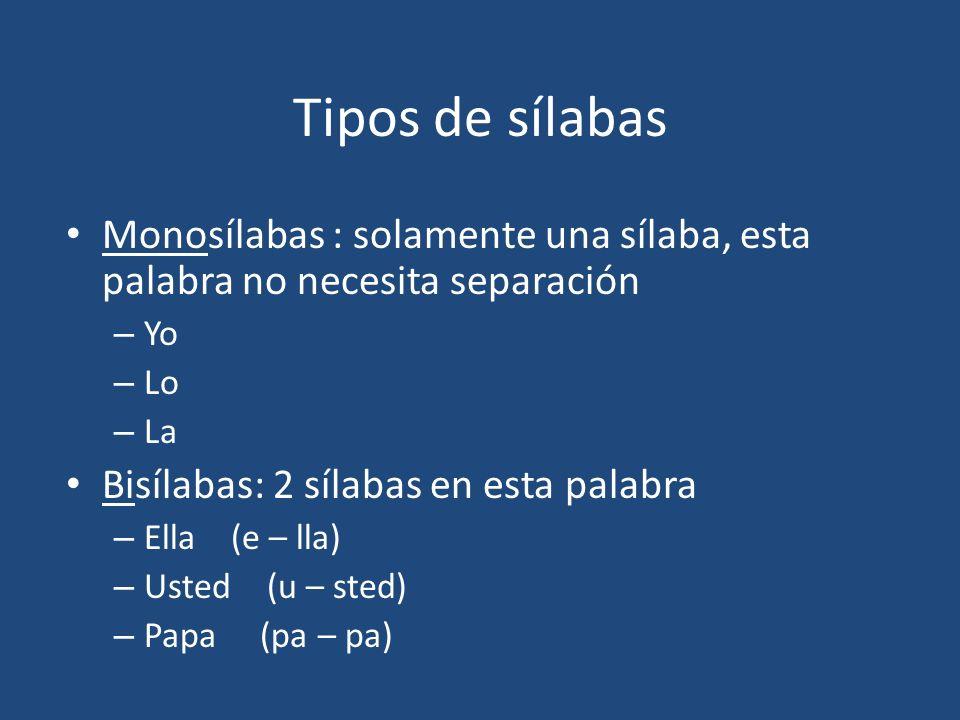 Tipos de sílabas Monosílabas : solamente una sílaba, esta palabra no necesita separación. Yo. Lo.