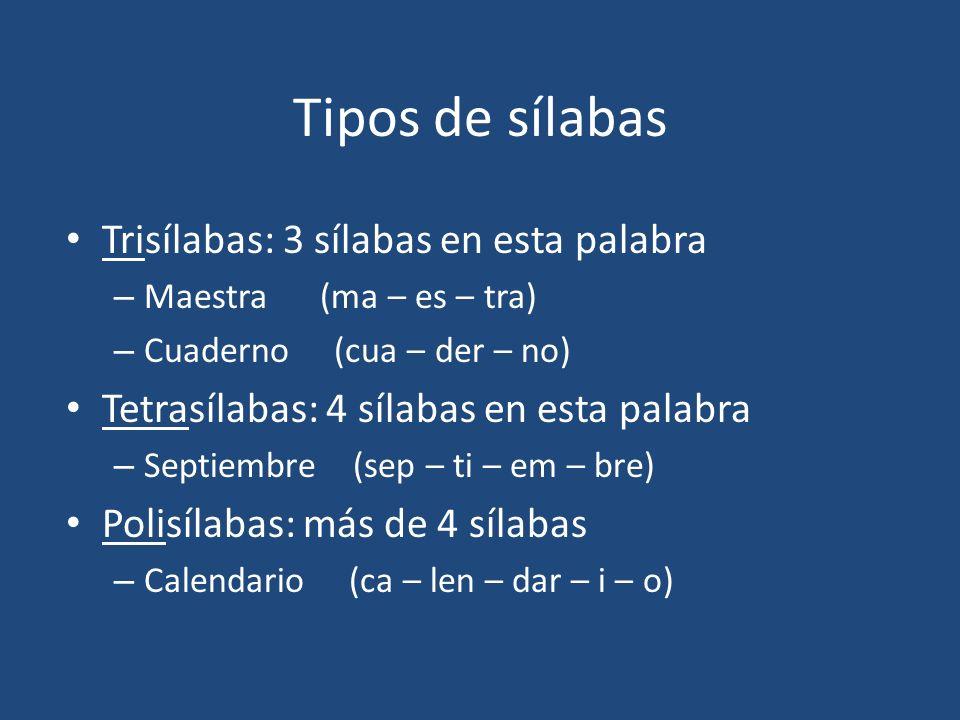 Tipos de sílabas Trisílabas: 3 sílabas en esta palabra
