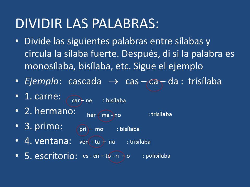 DIVIDIR LAS PALABRAS: