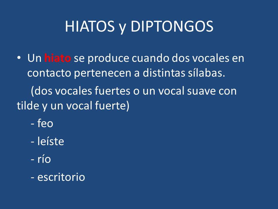 HIATOS y DIPTONGOS Un hiato se produce cuando dos vocales en contacto pertenecen a distintas sílabas.