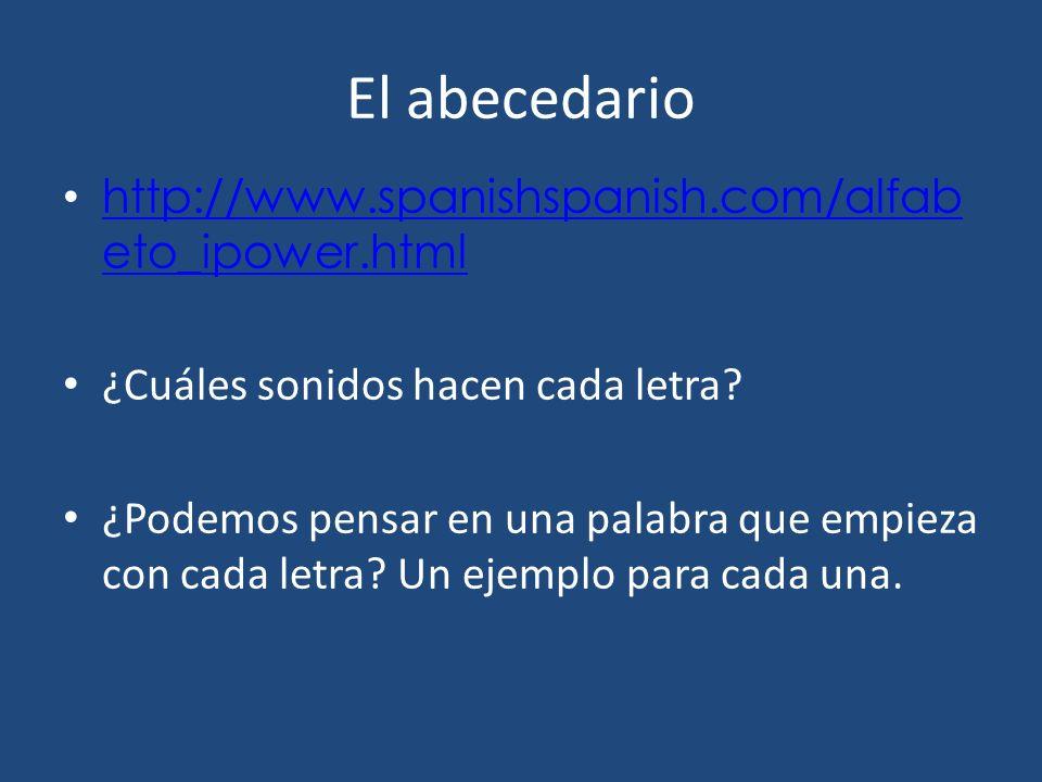 El abecedario http://www.spanishspanish.com/alfabeto_ipower.html