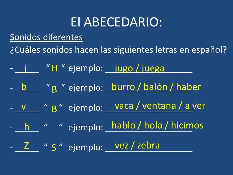 El ABECEDARIO: j H jugo / juega b burro / balón / haber B v