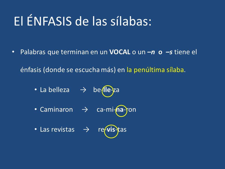 El ÉNFASIS de las sílabas: