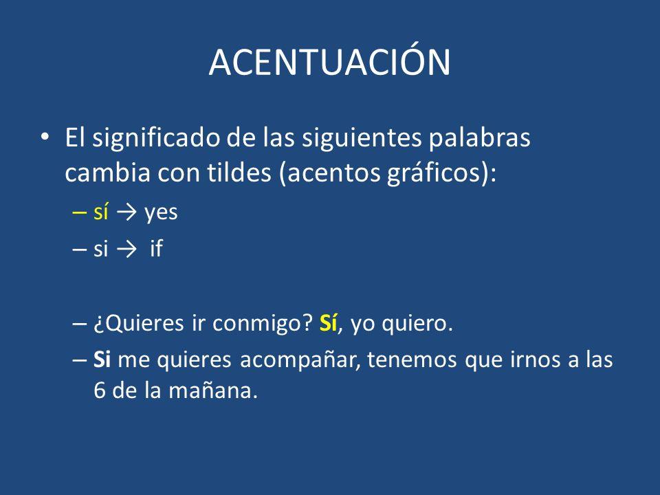 ACENTUACIÓN El significado de las siguientes palabras cambia con tildes (acentos gráficos): sí → yes.