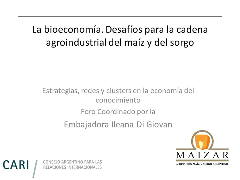 La bioeconomía. Desafíos para la cadena agroindustrial del maíz y del sorgo