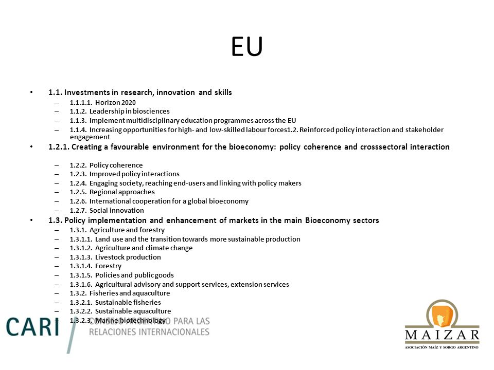 EU 1.1. Investments in research, innovation and skills