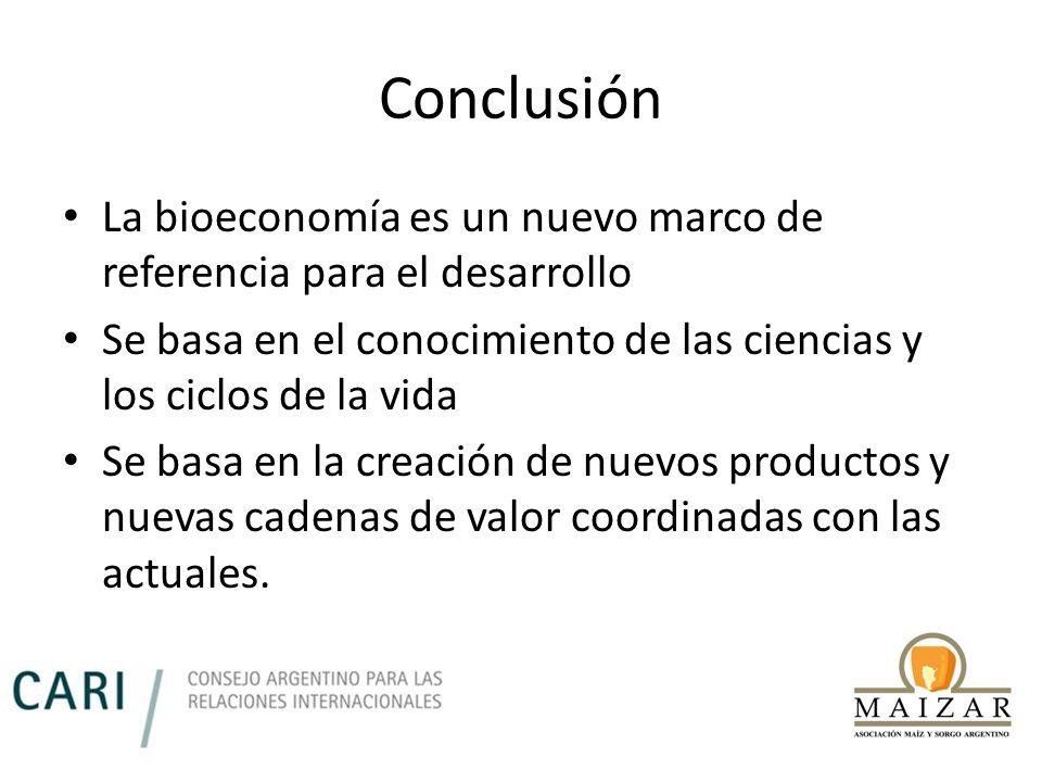 Conclusión La bioeconomía es un nuevo marco de referencia para el desarrollo. Se basa en el conocimiento de las ciencias y los ciclos de la vida.