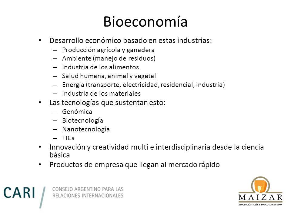 Bioeconomía Desarrollo económico basado en estas industrias: