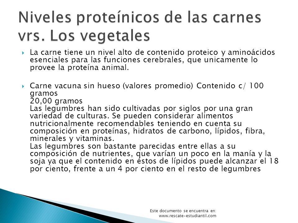 Niveles proteínicos de las carnes vrs. Los vegetales