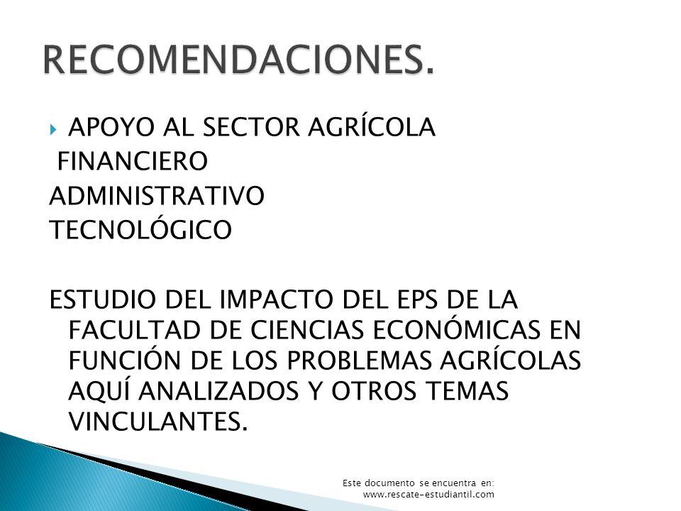 RECOMENDACIONES. APOYO AL SECTOR AGRÍCOLA FINANCIERO ADMINISTRATIVO