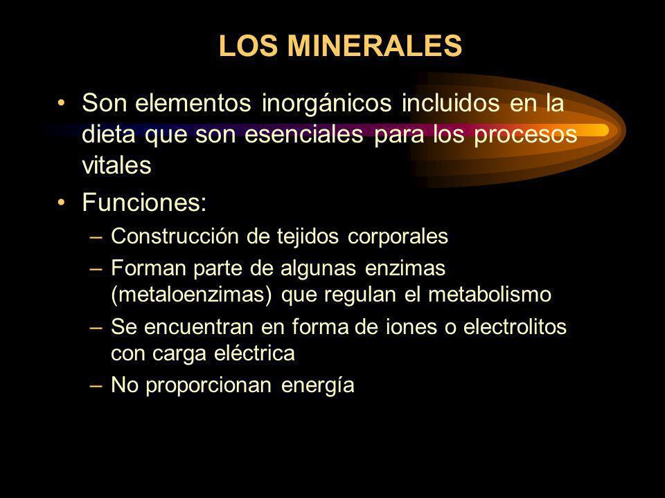 LOS MINERALES Son elementos inorgánicos incluidos en la dieta que son esenciales para los procesos vitales.