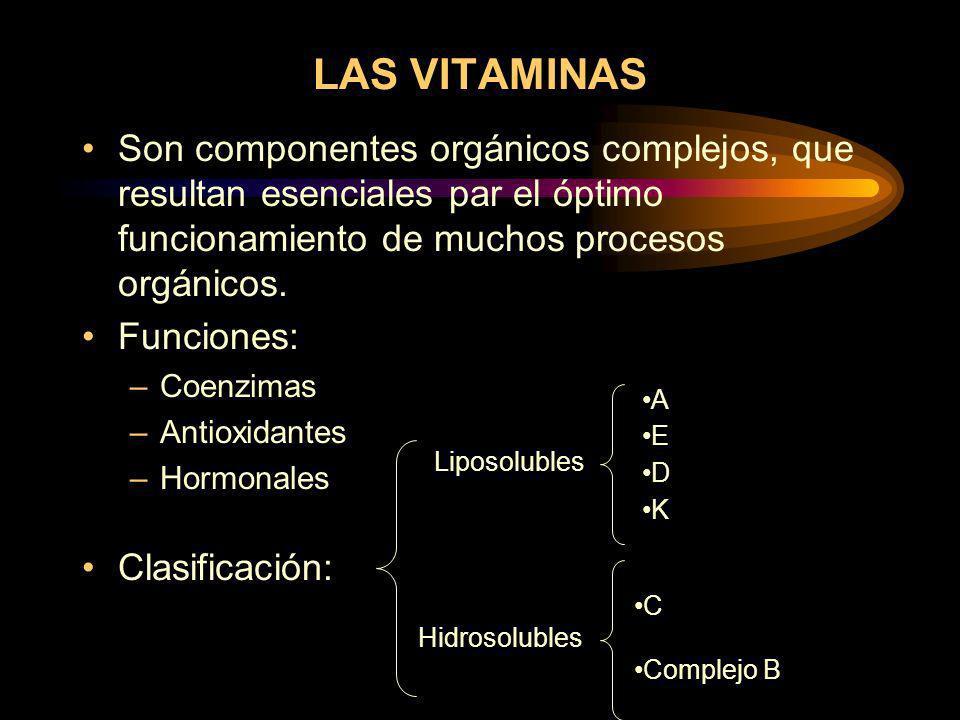LAS VITAMINAS Son componentes orgánicos complejos, que resultan esenciales par el óptimo funcionamiento de muchos procesos orgánicos.