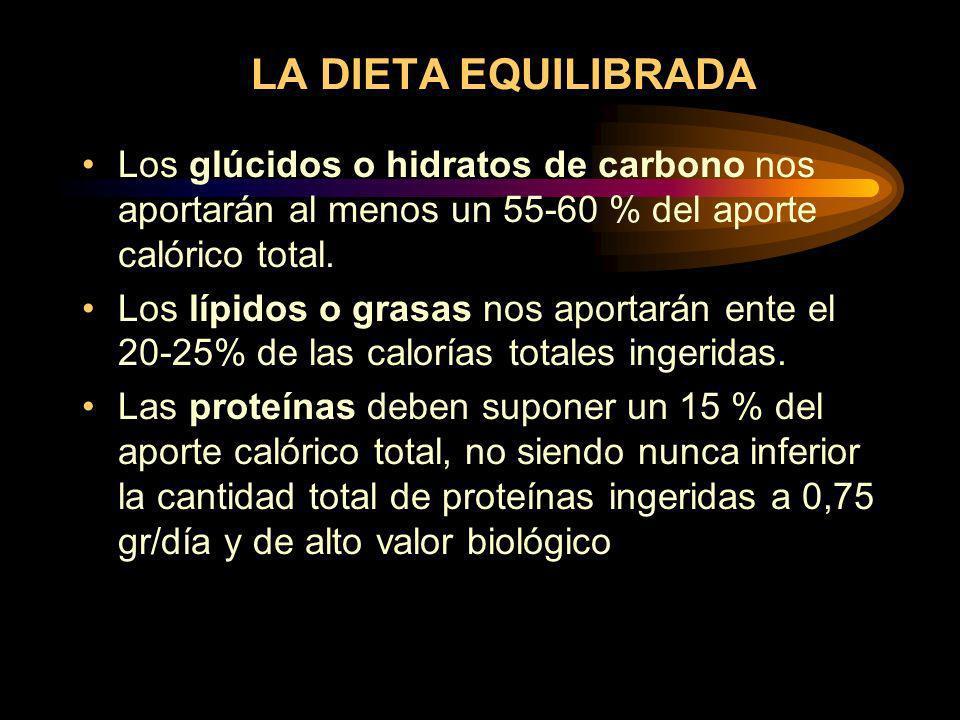 LA DIETA EQUILIBRADA Los glúcidos o hidratos de carbono nos aportarán al menos un 55-60 % del aporte calórico total.