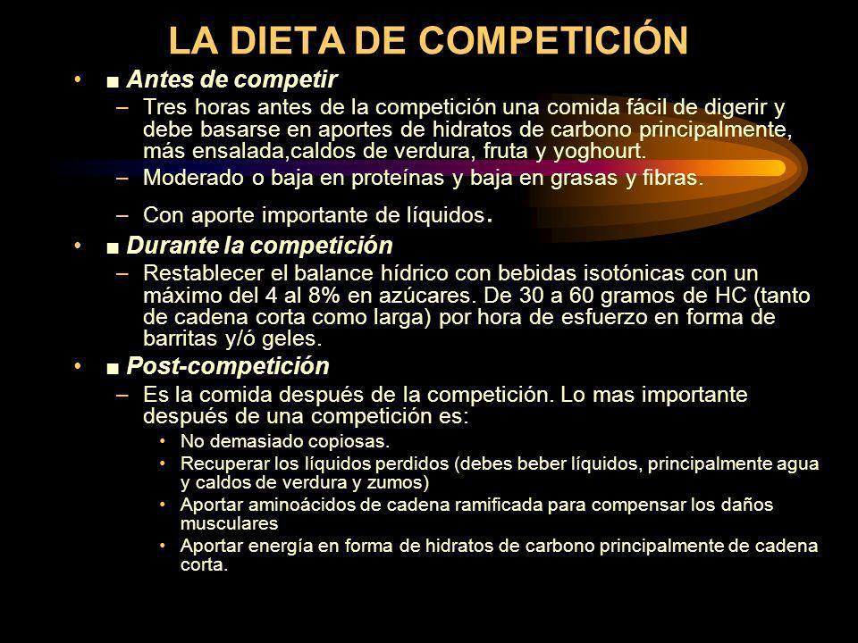 LA DIETA DE COMPETICIÓN