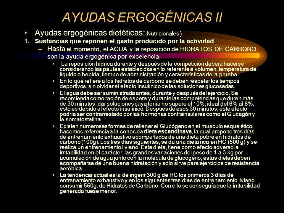 AYUDAS ERGOGÉNICAS II Ayudas ergogénicas dietéticas: (Nutricionales )