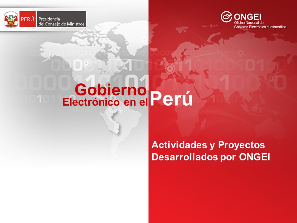 Actividades y Proyectos Desarrollados por ONGEI