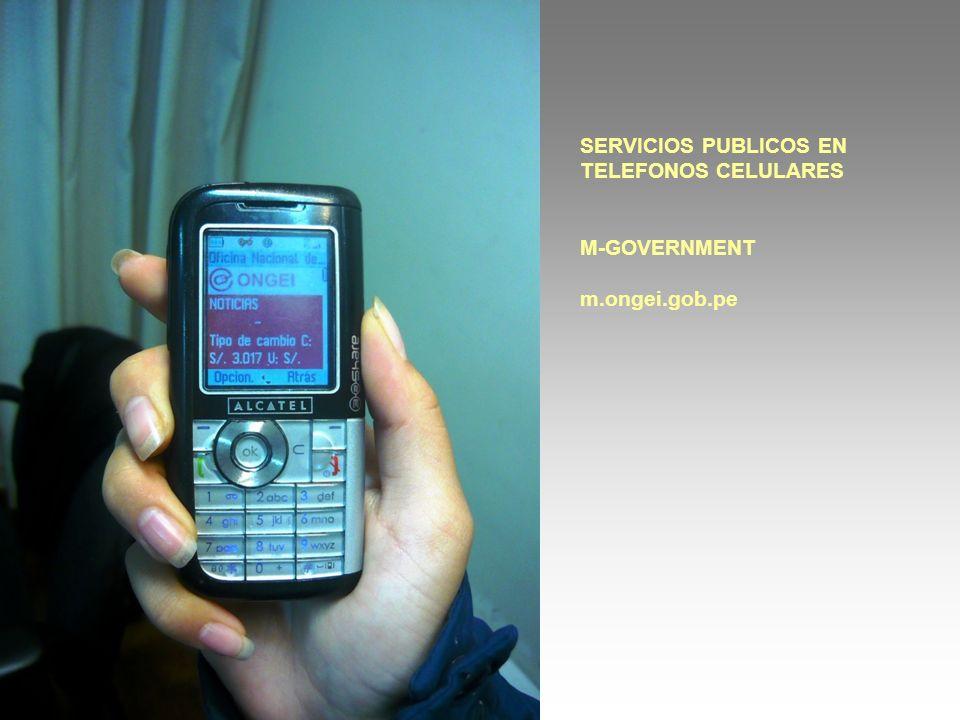 SERVICIOS PUBLICOS EN TELEFONOS CELULARES