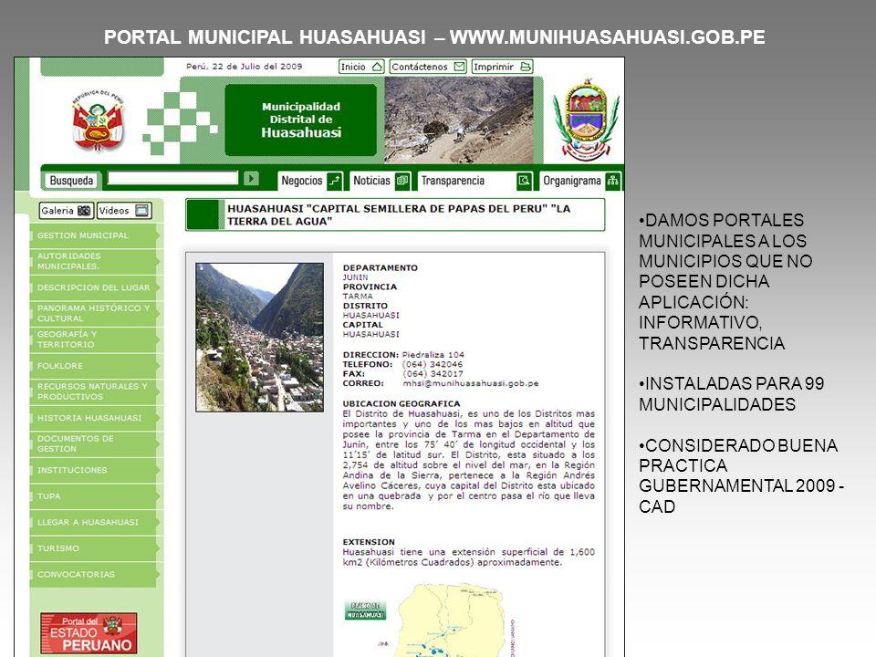 PORTAL MUNICIPAL HUASAHUASI – WWW.MUNIHUASAHUASI.GOB.PE