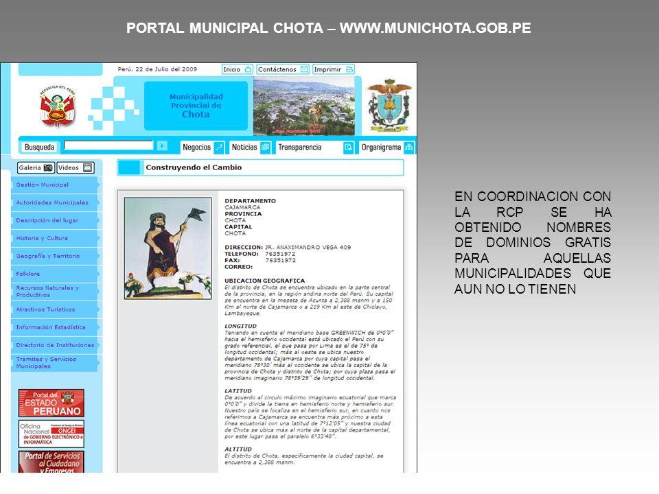 PORTAL MUNICIPAL CHOTA – WWW.MUNICHOTA.GOB.PE