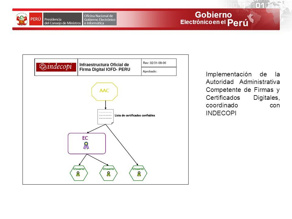 Implementación de la Autoridad Administrativa Competente de Firmas y Certificados Digitales, coordinado con INDECOPI