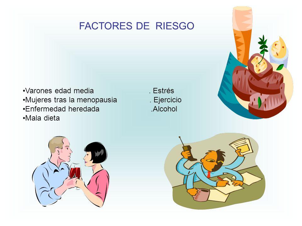 FACTORES DE RIESGO Varones edad media . Estrés