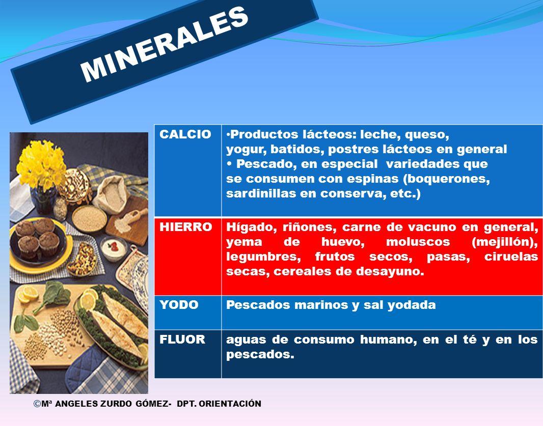 MINERALES Q 1 CALCIO Productos lácteos: leche, queso,