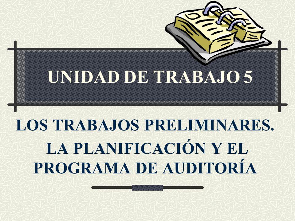LOS TRABAJOS PRELIMINARES. LA PLANIFICACIÓN Y EL PROGRAMA DE AUDITORÍA