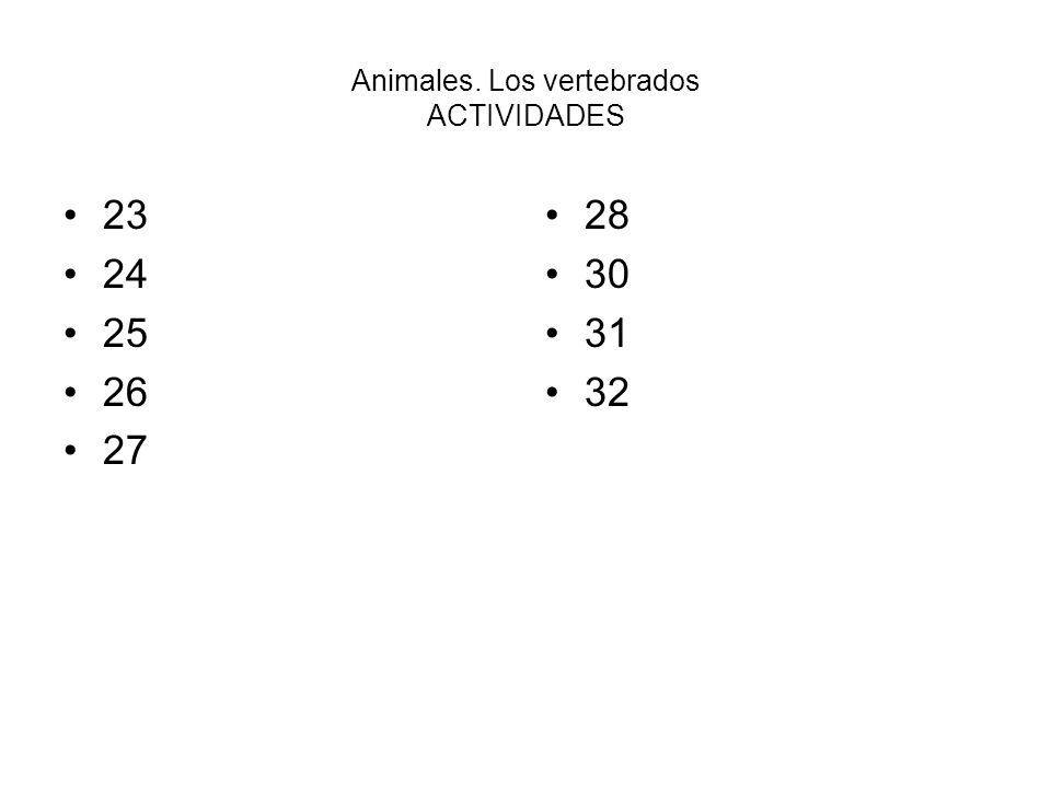 Animales. Los vertebrados ACTIVIDADES