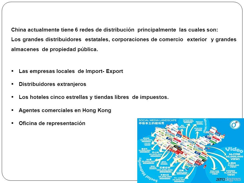 China actualmente tiene 6 redes de distribución principalmente las cuales son: