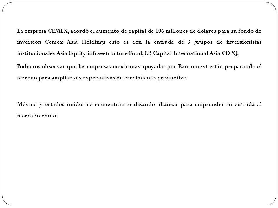 La empresa CEMEX, acordó el aumento de capital de 106 millones de dólares para su fondo de inversión Cemex Asia Holdings esto es con la entrada de 3 grupos de inversionistas institucionales Asia Equity infraestructure Fund, LP, Capital International Asia CDPQ.